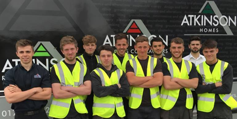Some of our record number of apprentices at Atkinson's, working towards a range of careers in construction.