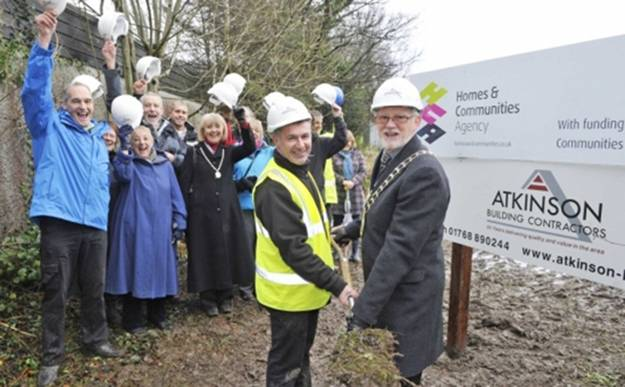Steve Pickering - Contract Manager and Keswick's town Mayor cut the first sod to start the new development