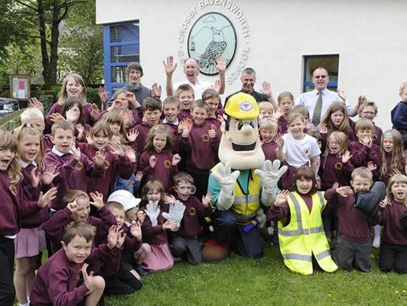Ivor Goodsite  visits the children at Crosby Ravensworth School to highlight the safety risks on construction Sites.