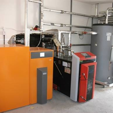 Ekopower Ekoheat 4000 Pellet Boiler and an Attack DPX45 Lambda log gasification boiler 85kw