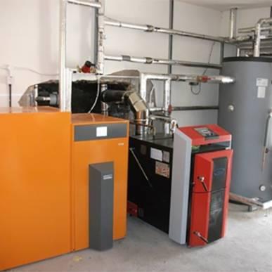 Ekopower Ekoheat 4000 Pellet Boiler and an Attack DPX45 Lambda log gasification boiler 85kw