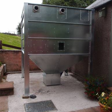 Biotech automatic pellet boiler with an external galvanised pellet store