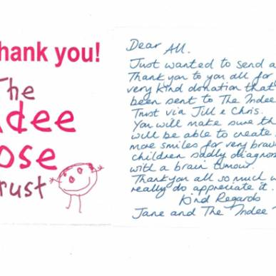 """A huge """"Thank You"""" from the Indee Rose Trust"""