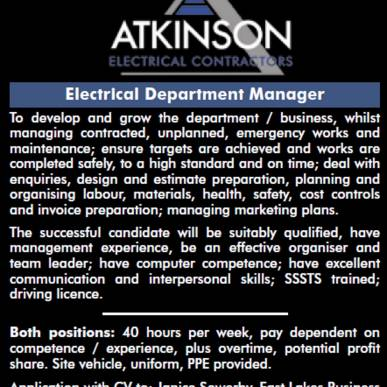 WE ARE RECRUITING - ELECTRICAL DEPARTMENT MANAGER