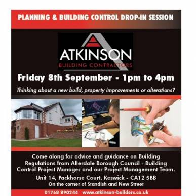 Drop In Session - Keswick Office Friday 08.09.17 - 1pm - 4pm