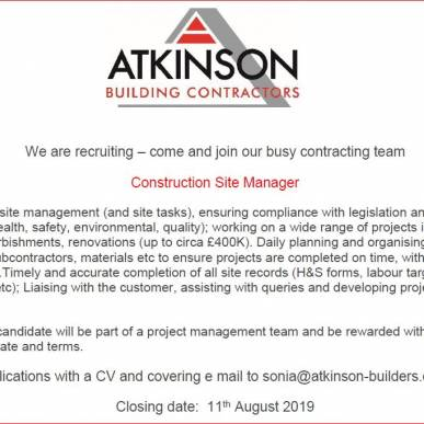 WE ARE RECRUITING - CONSTRUCTION SITE MANAGER
