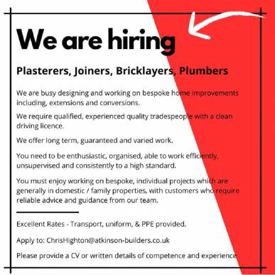 WE ARE RECRUITING - TRADES PEOPLE