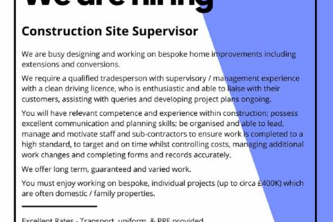 WE ARE RECRUITING - CONSTRUCTION SITE SUPERVISOR