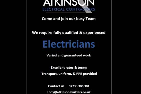 WE ARE RECRUITING ELECTRICIANS