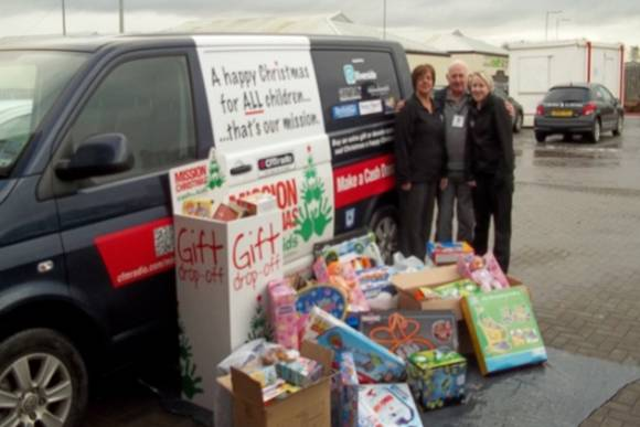 Mission Christmas collection from Atkinson Building Contractors with staff members Jody Little and Tracy Little