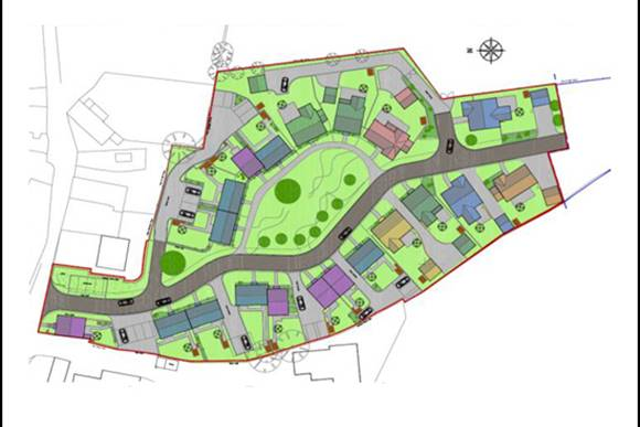 Outline plans on stone works site