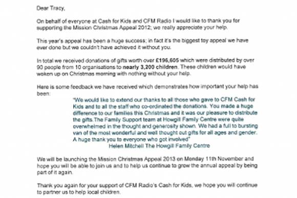 Thanks received from CFM Radio & Cash for Kids