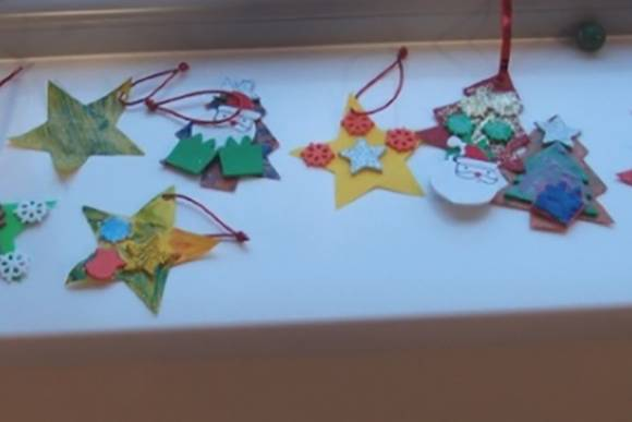 Christmas decorations ready to dress the tree at St Andrew's Church