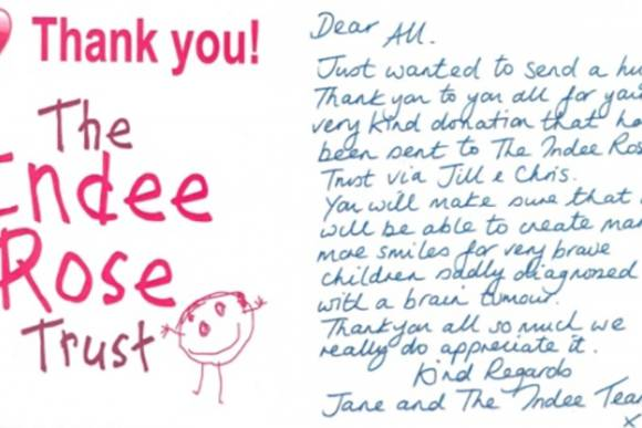 Thanks received from The Indee Rose Trust - WELL DONE Builders Bums
