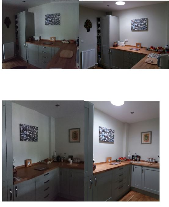 Before & after pictures after installing sun tubes in Kitchen